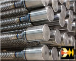 A Stack of Friction Welded Threaded Rod Welments