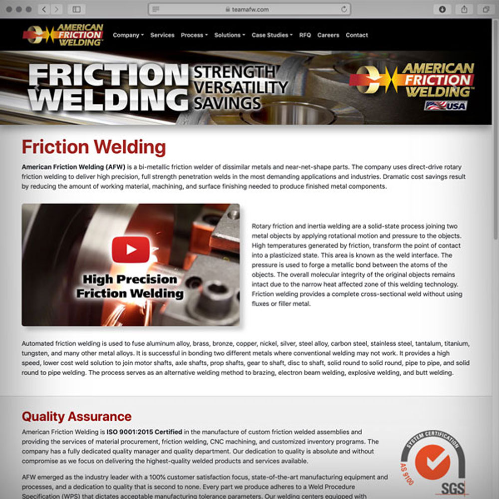 American Friction Welding's New Website Homepage