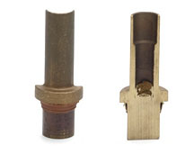Brass tube to solid friction welded